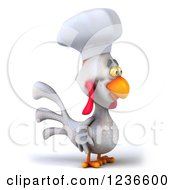 Clipart Of A 3d White Chef Chicken Facing Right Royalty Free Illustration by Julos