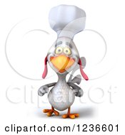 Clipart Of A 3d White Chef Chicken Walking Royalty Free Illustration by Julos