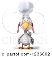 Clipart Of A 3d White Chef Chicken Royalty Free Illustration by Julos