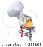 3d White Chef Chicken Pointing And Looking Around A Sign 2