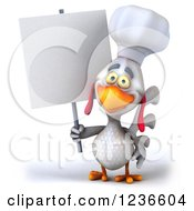 3d White Chef Chicken Holding A Blank Sign
