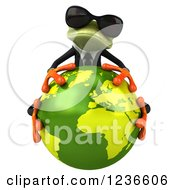 Clipart Of A 3d Green Business Springer Frog In Sunglasses Hugging Planet Earth Royalty Free Illustration