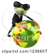Clipart Of A 3d Green Business Springer Frog In Sunglasses Hugging Planet Earth 2 Royalty Free Illustration