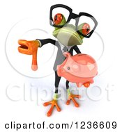 Clipart Of A 3d Bespectacled Green Business Springer Frog Holding A Piggy Bank And Thumb Down Royalty Free Illustration