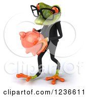 Clipart Of A 3d Bespectacled Green Business Springer Frog Carrying A Piggy Bank Royalty Free Illustration
