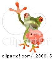 Clipart Of A 3d Green Springer Frog Leaping With A Piggy Bank Royalty Free Illustration