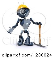 Clipart Of A 3d Blue Android Construction Robot With A Pick Axe Royalty Free Illustration
