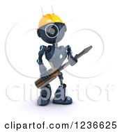 Clipart Of A 3d Blue Android Robot With A Screwdriver 4 Royalty Free Illustration
