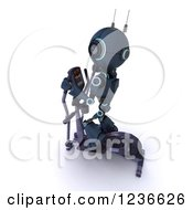 Clipart Of A 3d Blue Android Robot Exercising On A Cross Trainer Royalty Free Illustration