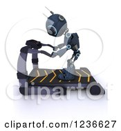 Clipart Of A 3d Blue Android Robot On A Treadmill Royalty Free Illustration by KJ Pargeter