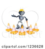 Clipart Of A 3d Blue Android Construction Robot With Cones And A Pickaxe 2 Royalty Free Illustration