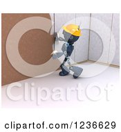 Clipart Of A 3d Blue Android Construction Robot Plastering Over Drywall Royalty Free Illustration