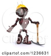 Clipart Of A 3d Red Android Construction Robot With A Pick Axe Royalty Free Illustration