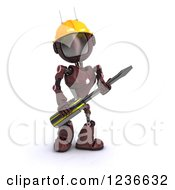 Clipart Of A 3d Red Android Robot With A Screwdriver 2 Royalty Free Illustration