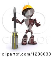 Clipart Of A 3d Red Android Robot With A Screwdriver 3 Royalty Free Illustration