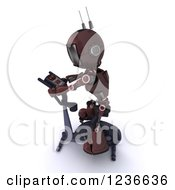 Clipart Of A 3d Red Android Robot Exercising On A Gym Bike 2 Royalty Free Illustration
