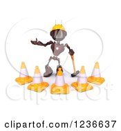 Clipart Of A 3d Red Android Construction Robot With Cones And A Pickaxe Royalty Free Illustration