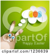 Brown Rabbit Thinking About Easter Eggs With Text On Green