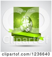 Clipart Of A Green Happy Easter Greeting And Egg With A Banner Over Gray Royalty Free Vector Illustration