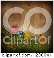 Clipart Of A Dark Distressed Background Of Easter Eggs Butterflies Grass And Wood Fencing Royalty Free Illustration