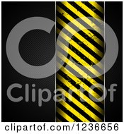 Clipart Of A Black Perforated Metal Background With A Grungy Hazard Stripes Panel Royalty Free Vector Illustration