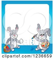 Clipart Of A Blue Border Of Bunny Rabbits Painting Easter Eggs Royalty Free Vector Illustration