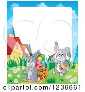 Clipart Of A Border Of A Bunny Rabbits Painting And Carrying Easter Eggs Royalty Free Vector Illustration