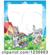 Clipart Of A Border Of A Bunny Rabbits Painting A Giant Easter Egg Royalty Free Vector Illustration