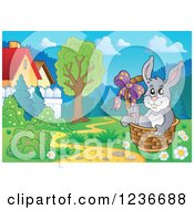 Clipart Of A Gray Easter Relaxing In A Basket In A Meadow Royalty Free Vector Illustration