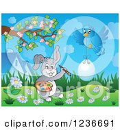 Clipart Of A Blue Bird And Gray Easter Bunny Painting An Egg Royalty Free Vector Illustration