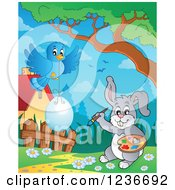 Clipart Of A Blue Bird And Gray Easter Bunny Painting An Egg 2 Royalty Free Vector Illustration