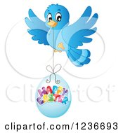 Clipart Of A Blue Bird Flying With A Happy Easter Egg Royalty Free Vector Illustration by visekart