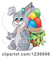 Clipart Of A Gray Bunny Carrying A Basket Of Easter Eggs On His Back Royalty Free Vector Illustration