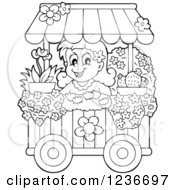 Clipart Of A Black And White Happy Girl Working At A Flower Shop Florist Cart Royalty Free Vector Illustration by visekart