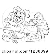 Clipart Of A Black And White Friendly Bunny Waving And Carrying A Giant Carrot Royalty Free Vector Illustration by visekart