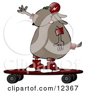 Cool Dog Riding A Skateboard Clip Art Illustration