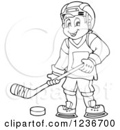 Clipart Of A Black And White Happy Male Ice Hockey Player Royalty Free Vector Illustration by visekart