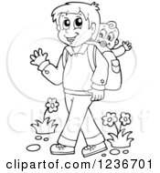 Clipart Of A Black And White Father Waving And Walking With His Baby On His Back Royalty Free Vector Illustration by visekart