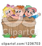 Clipart Of Happy Caucasian Children Looking Over A Wooden Fence Royalty Free Vector Illustration