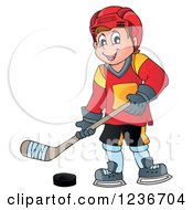 Clipart Of A Happy Caucasian Male Ice Hockey Player Royalty Free Vector Illustration
