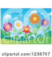 Clipart Of Colorful Daisy Flowers On A Hill Royalty Free Vector Illustration