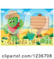 Cowboy Cactus Sheriff Waving By A Wood Sign In A Desert