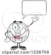 Happy Waving Talking Soccer Ball Character
