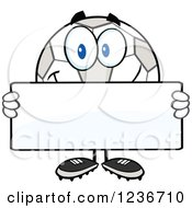 Happy Smilling Soccer Ball Character Holding A Sign