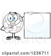 Happy Smilling Soccer Ball Character Holding And Pointing To A Sign