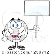 Happy Smilling Soccer Ball Character Holding A Blank Sign