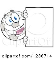 Happy Smilling Soccer Ball Character Looking Around A Sign