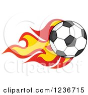 Clipart Of A Flying Soccer Ball With Flames Royalty Free Vector Illustration
