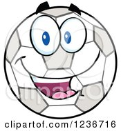 Clipart Of A Happy Smilling Soccer Ball Character Royalty Free Vector Illustration by Hit Toon