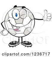 Clipart Of A Happy Soccer Ball Character Holding A Thumb Up Royalty Free Vector Illustration by Hit Toon